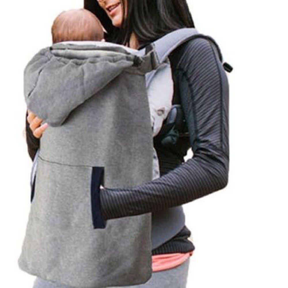 <ママさん応援♪>寒い日にぴったり!!フード付きキャリアカバー☆ベビー 新生児 抱っこ紐 カバー マント ファッション 冬 グレー RU100_画像9