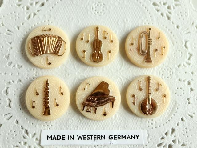 楽器 ジャーマン ヴィンテージ カボション ドイツ ハンドメイド パーツ アコーディオン バイオリン トランペット クラリネット ピアノ 6個