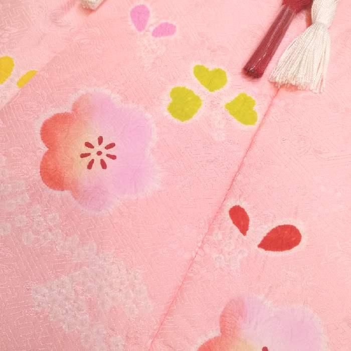 七五三 着物 mi466 3歳 正絹被布コート 絞り ピンク 日本製_画像2