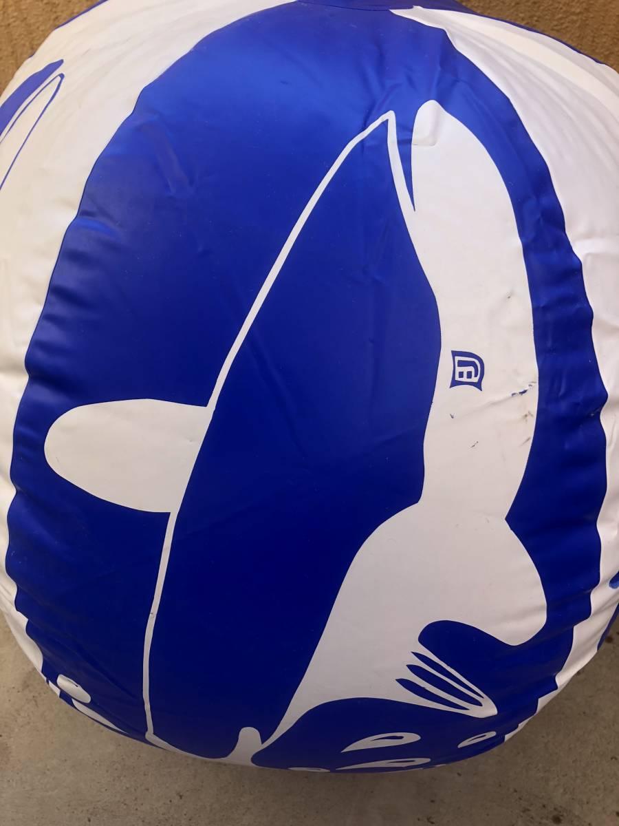 超レア巨大!レトロ!クジラ柄 75cm ビーチボール 浮き輪 シャチ フロート 空ビ ロングエアークッション バルーン パンチング POP_画像4