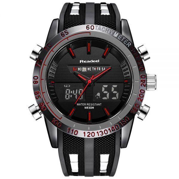 高級ブランド腕時計メンズ用スポーツ腕時計防水 LED デジタルクォーツメンズミリタリー腕時計時計メンズレロジオ Masculino_赤い