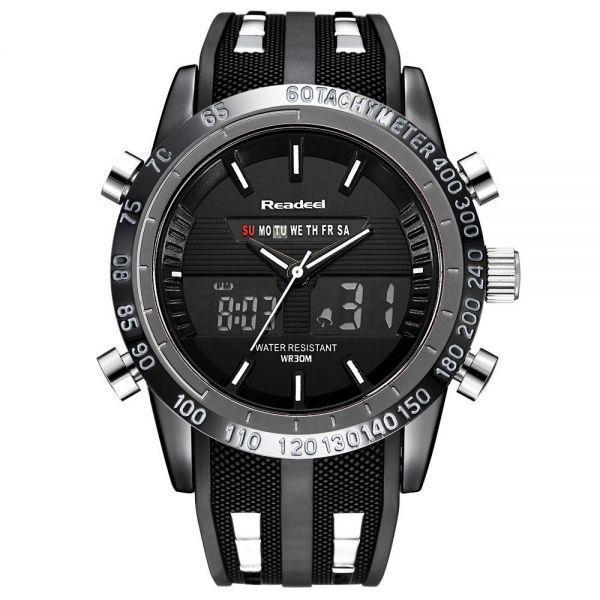 高級ブランド腕時計メンズ用スポーツ腕時計防水 LED デジタルクォーツメンズミリタリー腕時計時計メンズレロジオ Masculino_黒