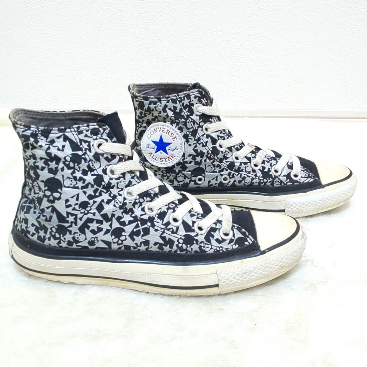 【CONVERSE】コンバースオールスター ALL STAR ハイカットスニーカー キャンバス ドクロ スカル ロック 黒 シルバー 靴 シューズ 24cm/jx_画像2