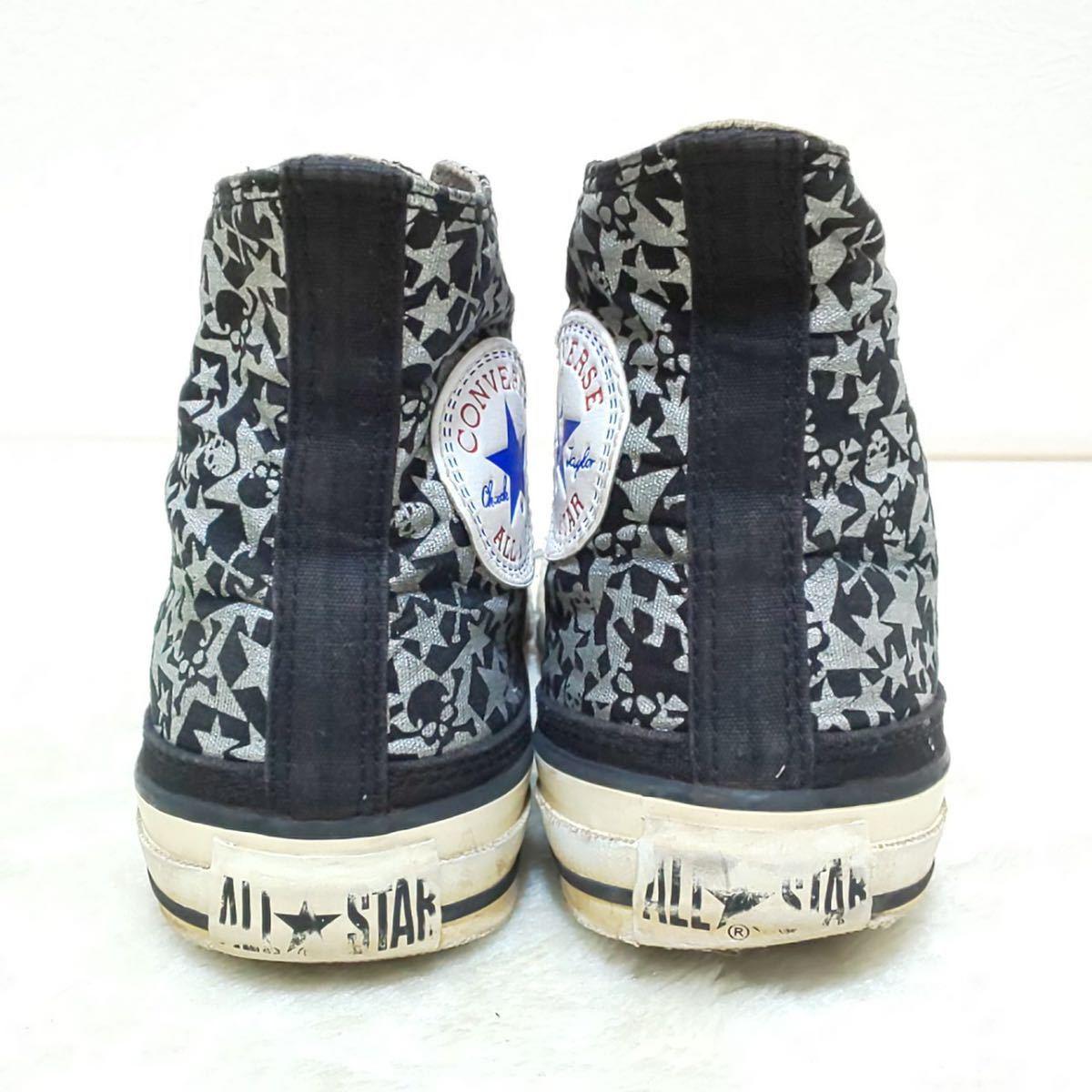 【CONVERSE】コンバースオールスター ALL STAR ハイカットスニーカー キャンバス ドクロ スカル ロック 黒 シルバー 靴 シューズ 24cm/jx_画像4