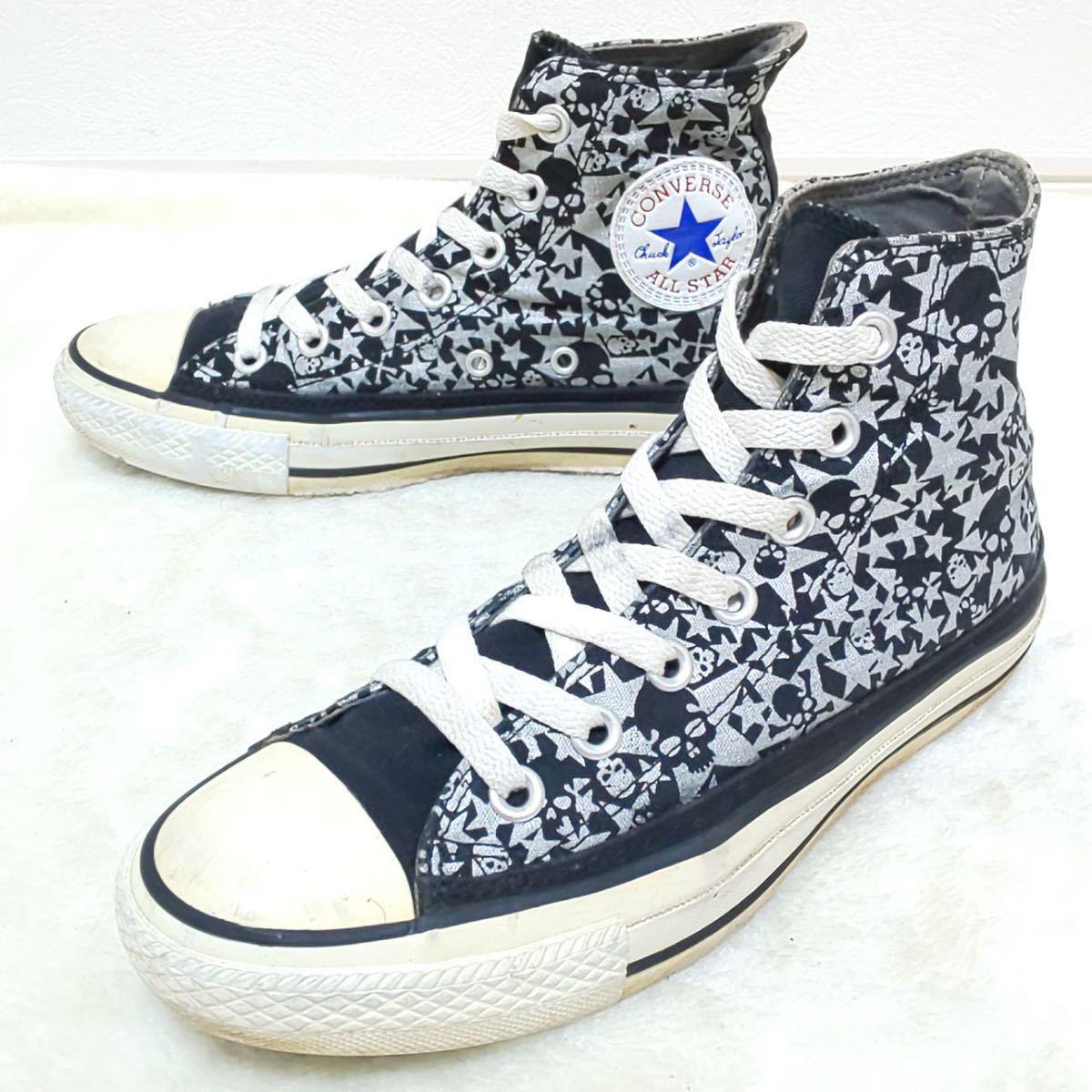 【CONVERSE】コンバースオールスター ALL STAR ハイカットスニーカー キャンバス ドクロ スカル ロック 黒 シルバー 靴 シューズ 24cm/jx_画像1