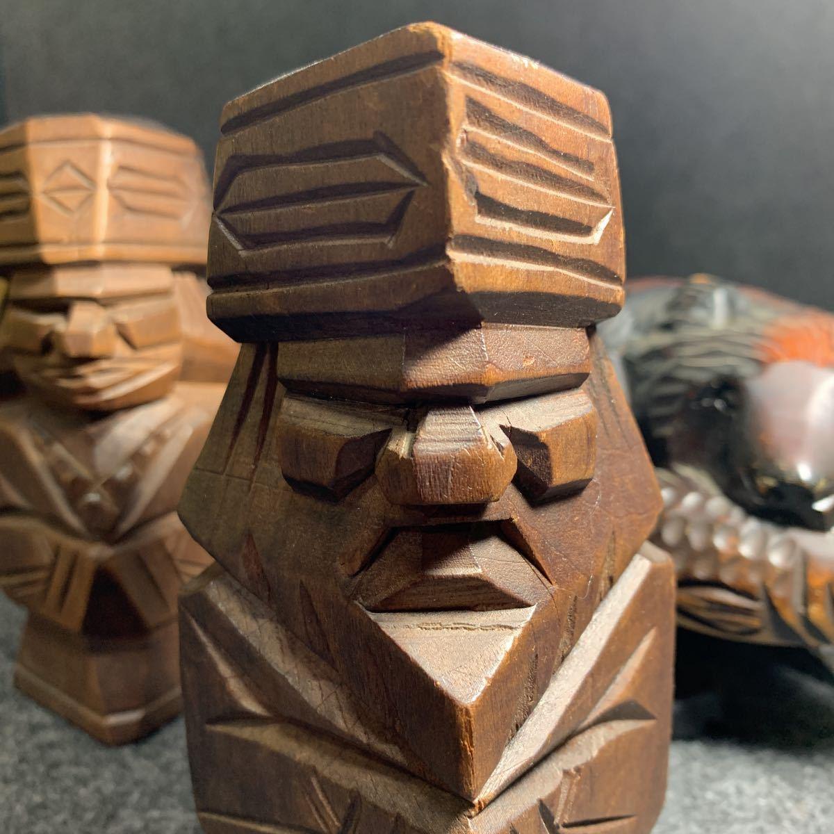 R0068 北海道 民芸品 ニポポ人形 木彫り熊 コラボ アイヌ民族 アイヌ人形 伝統工芸 北海三昧_画像8