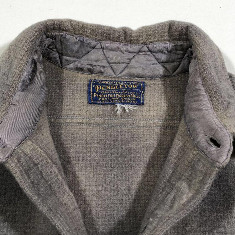 30s 40s PENDLETON オンブレ フェイクプルオーバー ウール シャツ ビンテージ 30年代 40年代 ペンドルトン シャドーチェック オリジナル_画像5
