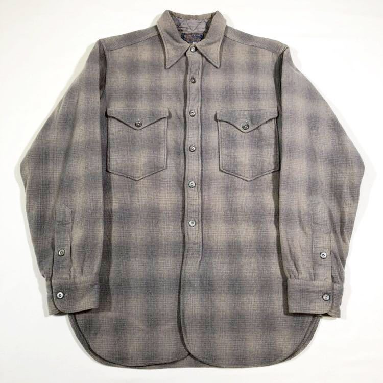 30s 40s PENDLETON オンブレ フェイクプルオーバー ウール シャツ ビンテージ 30年代 40年代 ペンドルトン シャドーチェック オリジナル