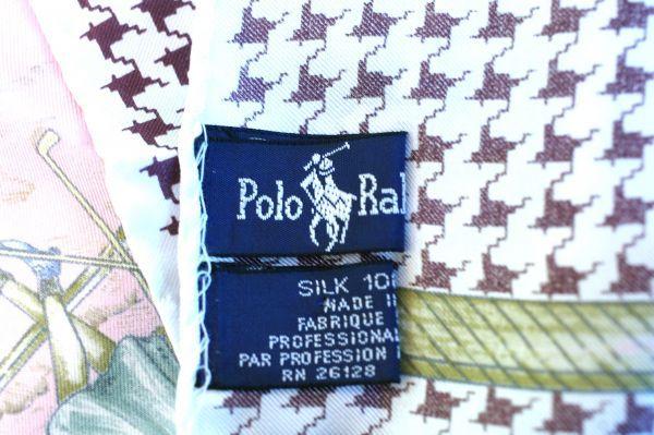 ○美品 ラルフローレン Ralph Lauren 80cm シルク100% スカーフ ゴルフ柄_画像3