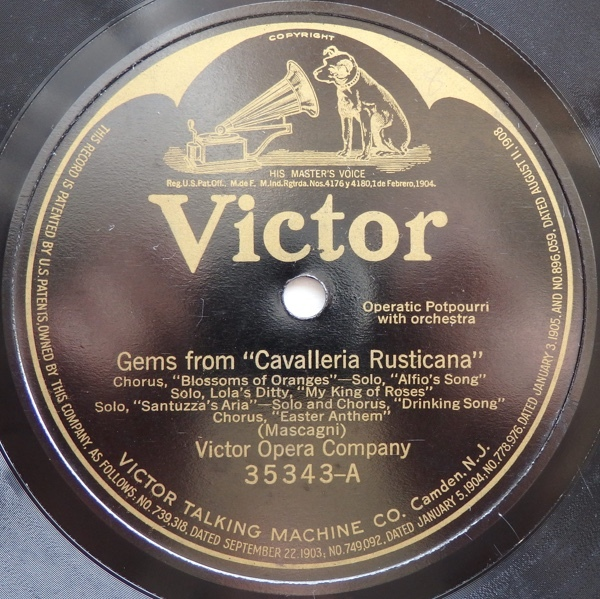 SP VICTOR OPERA COMPANY GEMS FROM CAVALLERIA RUSTICANA / GEMS FROM PAGLIACCI 米盤_画像3