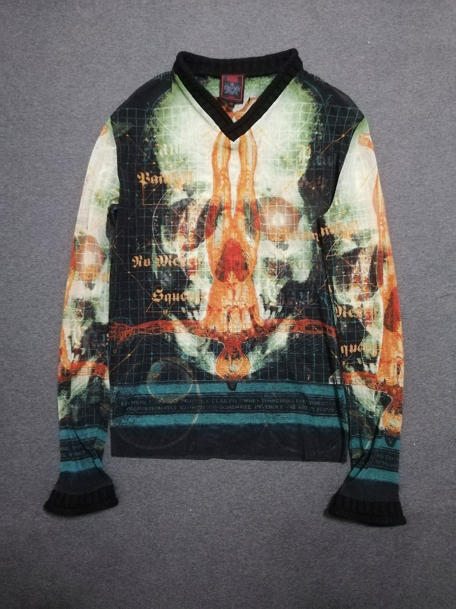 90s ARCHIVE Jean Paul Gaultier Skull Body Print Mesh Longsleeve Shirt Top カットソー シャツ メンズ Tattoo /ゴルチエ ゴルチェ JPG