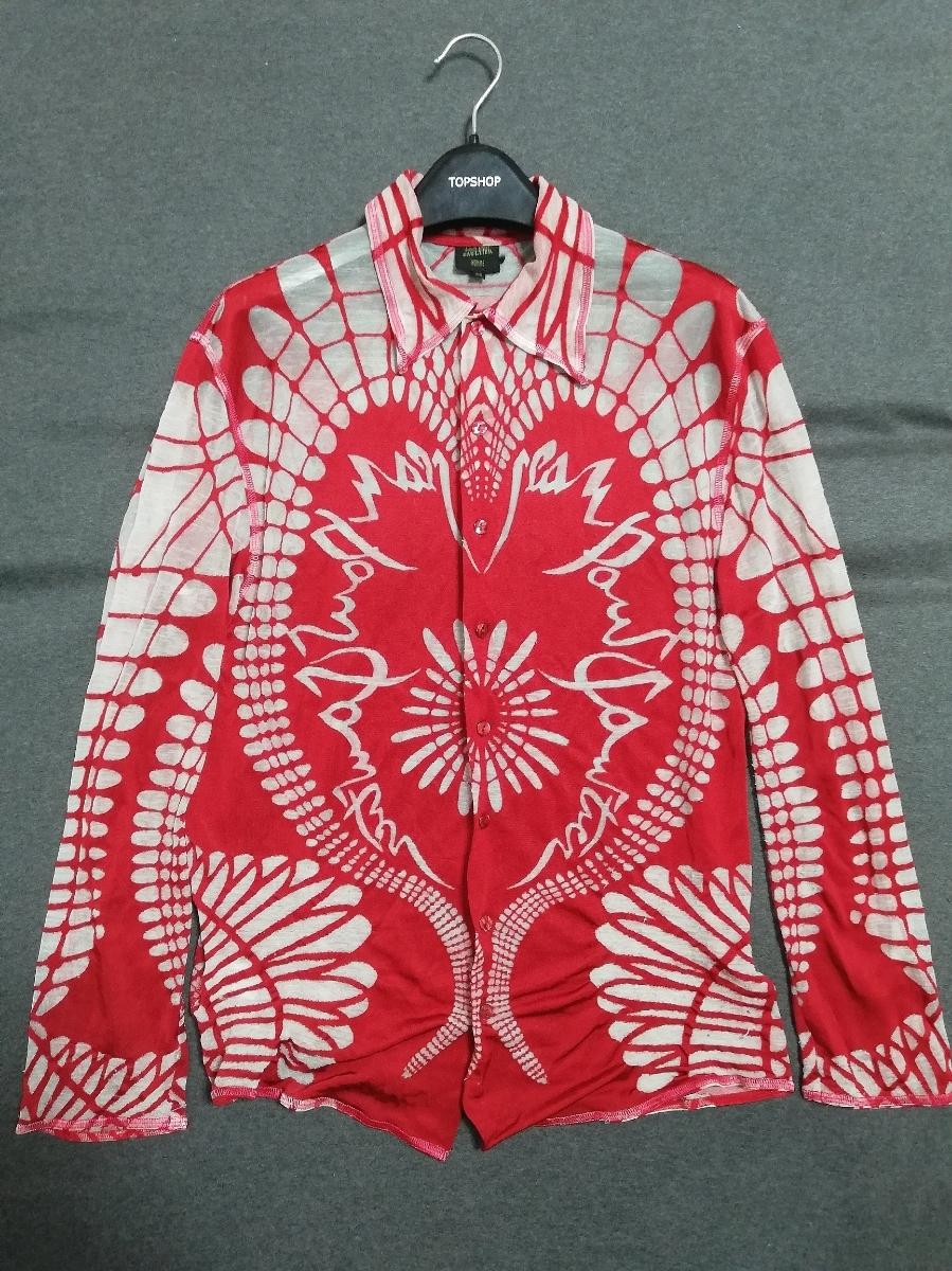 SS01 ARCHIVE Jean Paul Gaultier Bone Tattoo Mesh Longsleeve Shirt Top カットソー シャツ パワーネット / ゴルチエ ゴルチェ JPG 90s