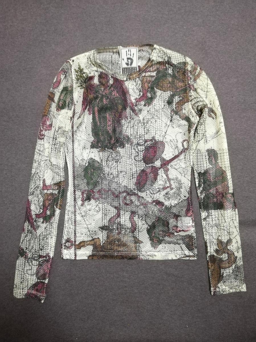 SS94 ARCHIVE Jean Paul Gaultier Zodiac Print Longsleeve Mesh Shirt Top パワーネット シャツ カットソー 90s /ゴルチエ ゴルチェ JPG