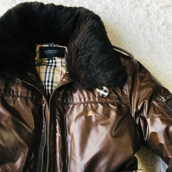 07328 超美品 ダウン95% バーバリーブラックレーベル BURBERRY BLACK LABEL メンズ ダウンジャケット M ブラウン ノバチェック_画像2