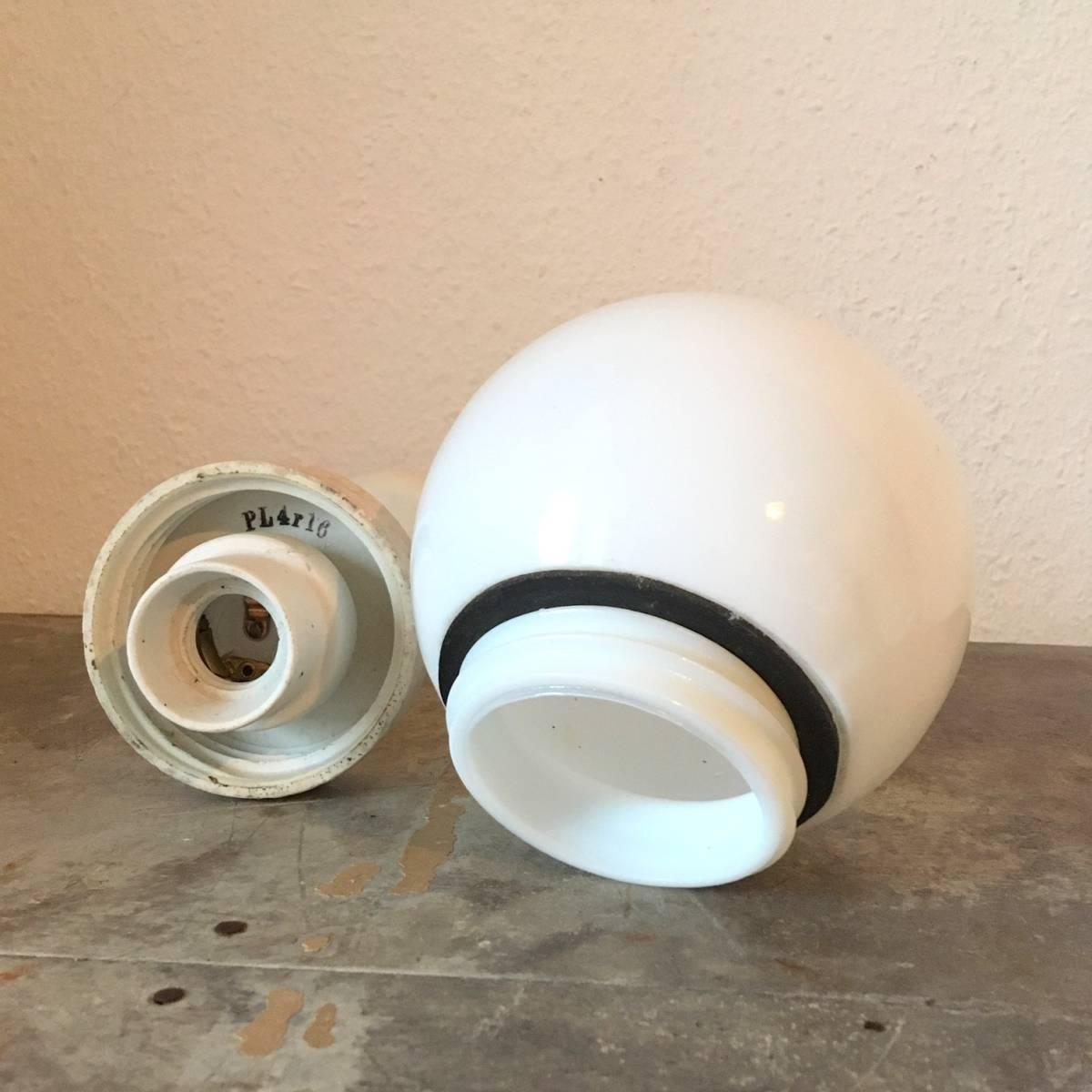 希少 ドイツ ヴィンテージ siemens 陶器 ミルクガラス ランプ 照明 真鍮 バウハウス 工業系 店舗什器 シャビー古道具 小物 家具 北欧 白_画像8