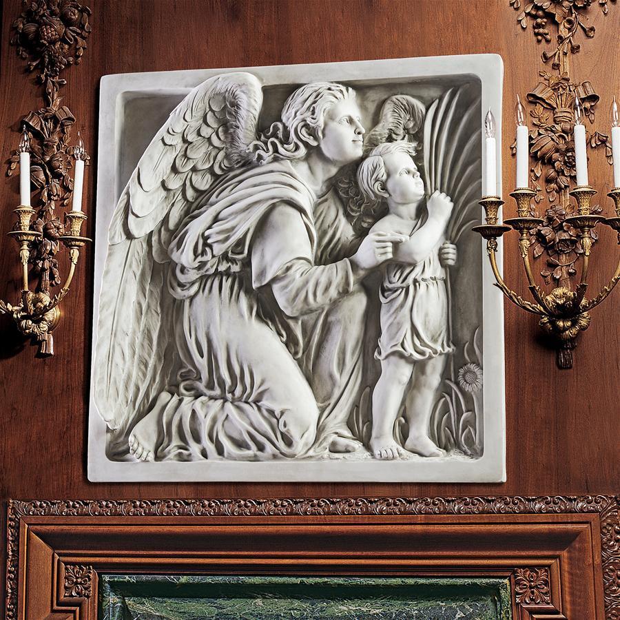 子供と守護天使 壁掛けレリーフ彫刻西洋置物洋風インテリアオブジェ飾りガーディアンエンジェル家具ヨーロッパ壁飾り洋風ホームデコ小物_画像1