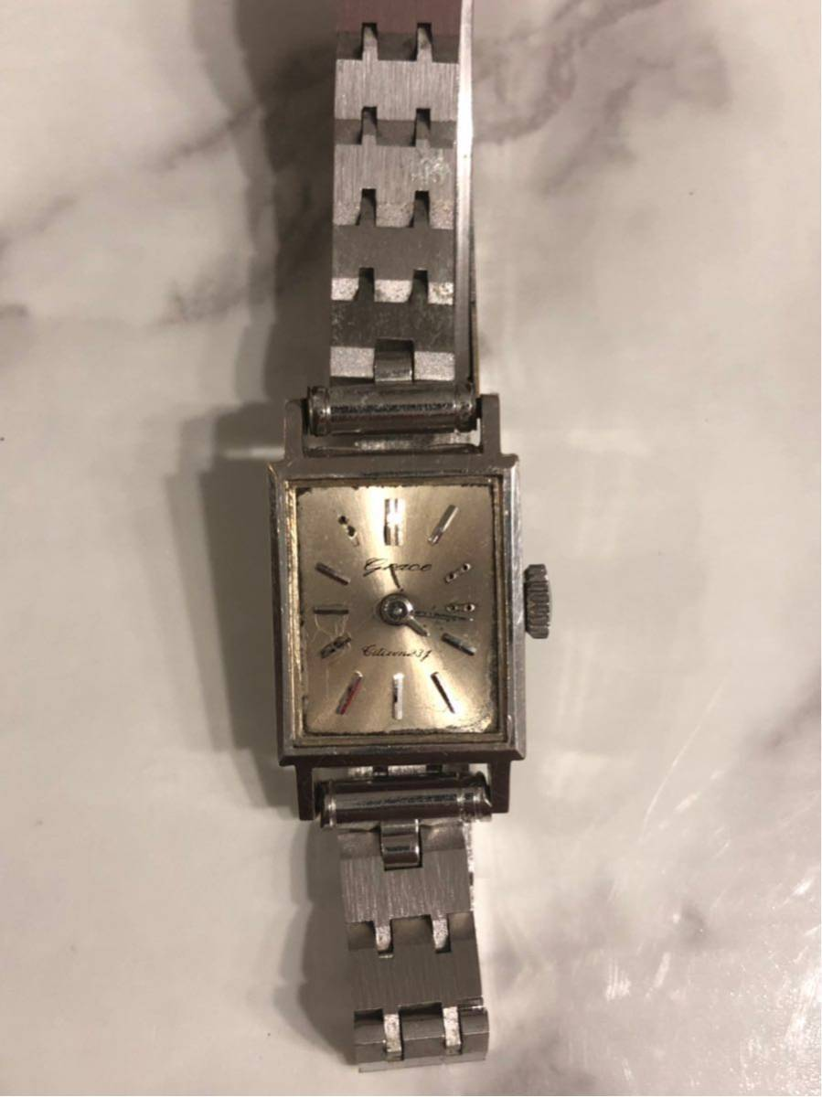 CITIZEN シチズン GRACE グレース 23石 K14WG 金無垢 レディースウォッチ 腕時計 アンティーク 585刻印有り