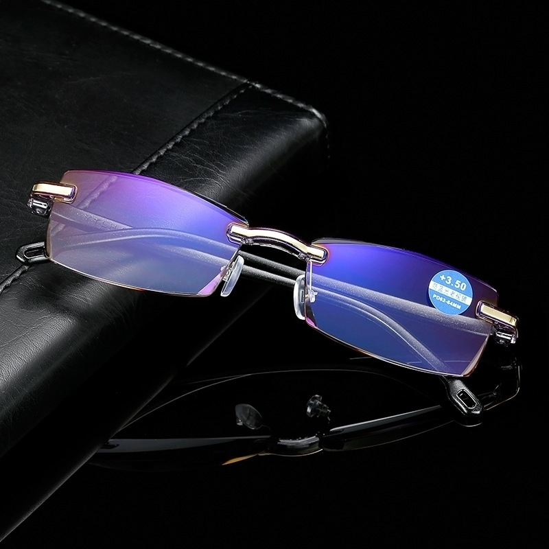 送料無料 +2.5 老眼鏡 リムレス 縁なし ブルーライトカットメガネ ブラック 黒 パソコン眼鏡 .