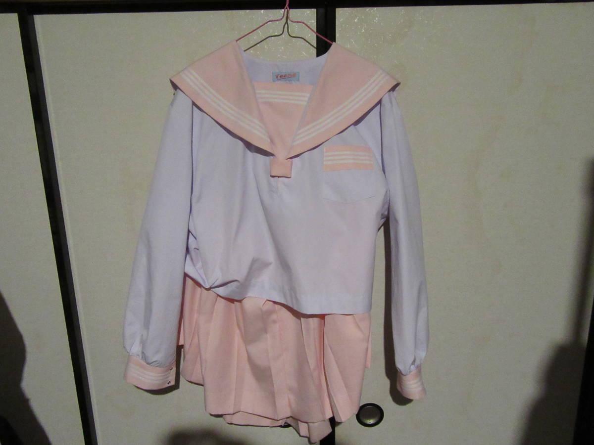 制服専門店 Teens 長袖セーラー服 中間服 ピンク襟 白3本線 サイズ19 大きいサイズ ピンクスカート W100 H49 24車ヒダ 未使用 未着用品