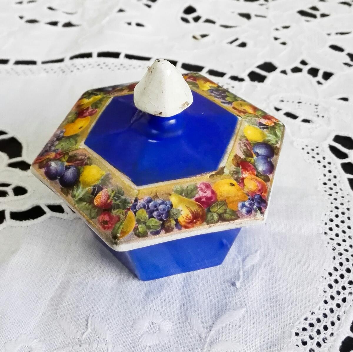 アンティーク ヴィンテージ 小物入れ 陶磁器 蓋付き フルーツ模様 六角形 M-435★10_画像2