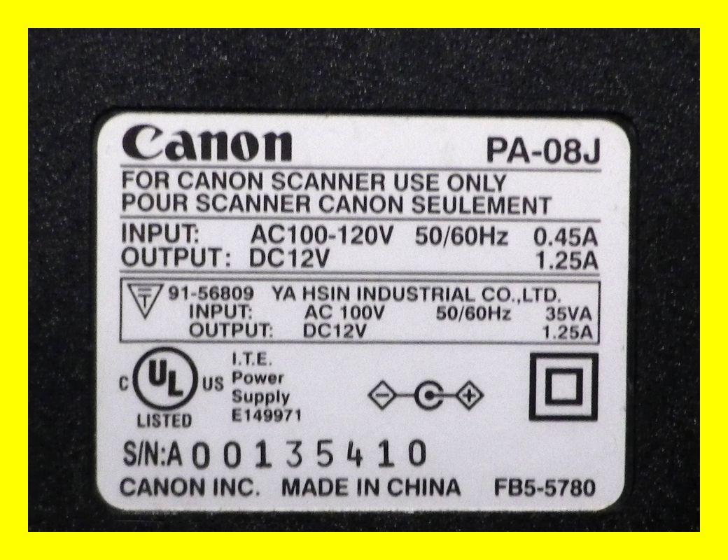 ACアダプタ 12V 1.25A Canon PA-08J 中古