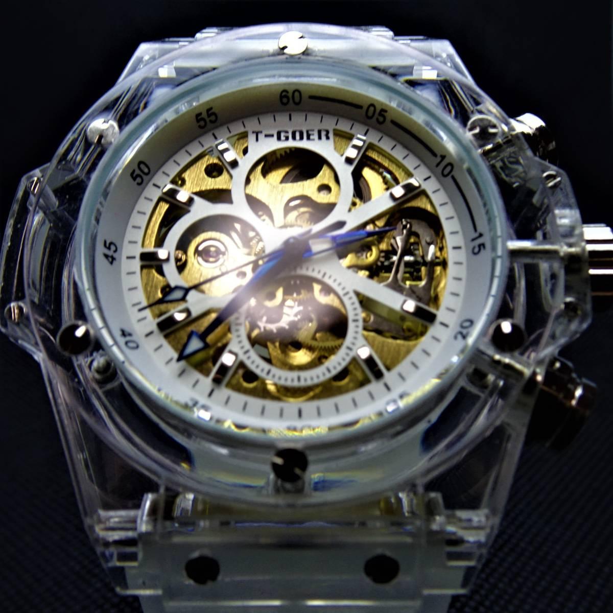 〓新品〓自動巻き機械式腕時計スタンダードモデル49mmホワイトシリコンベルトスケルトンケースt-goer