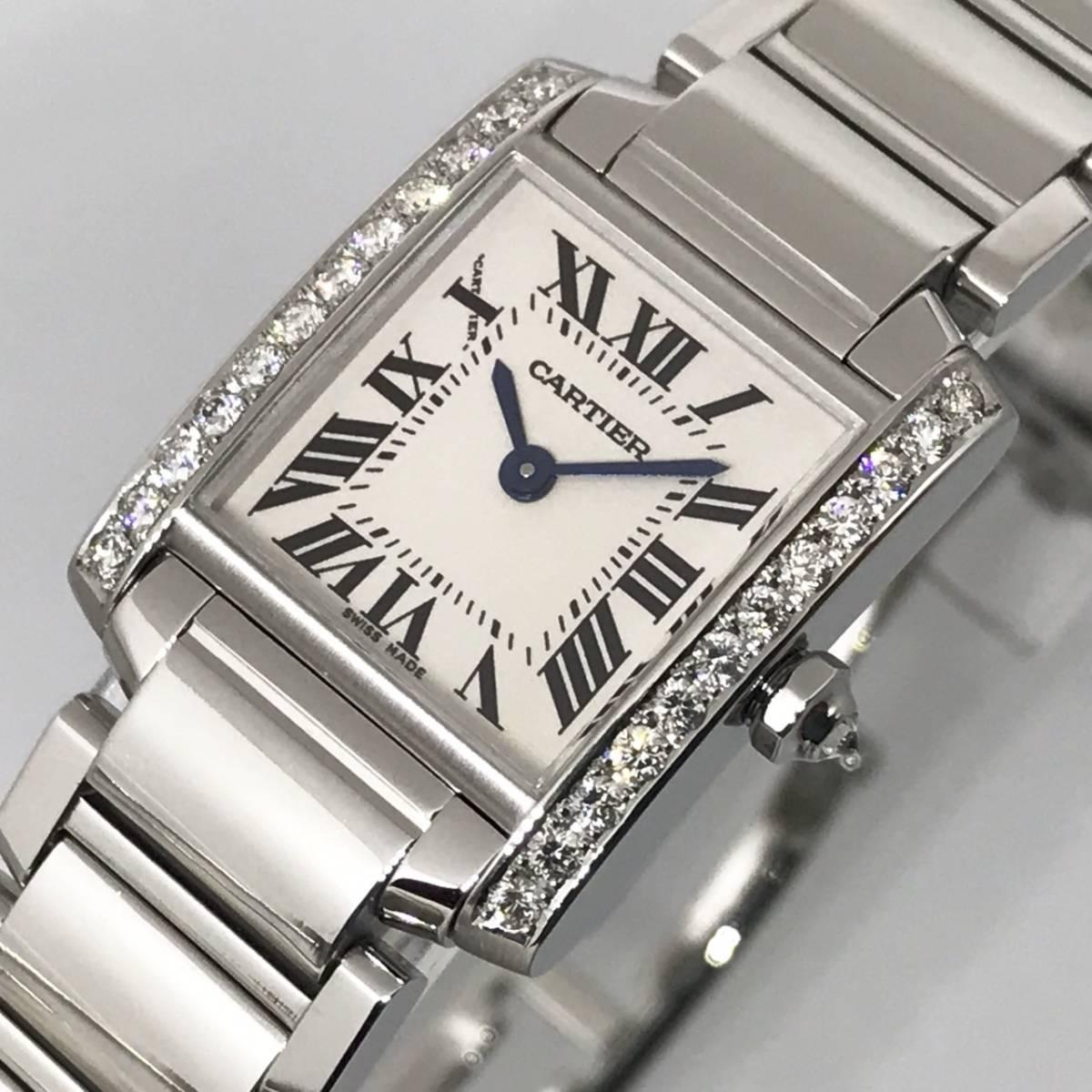 ★新品仕上げ済み★極美品★カルティエ タンクフランセーズSM 天然ダイヤモンド レディース時計
