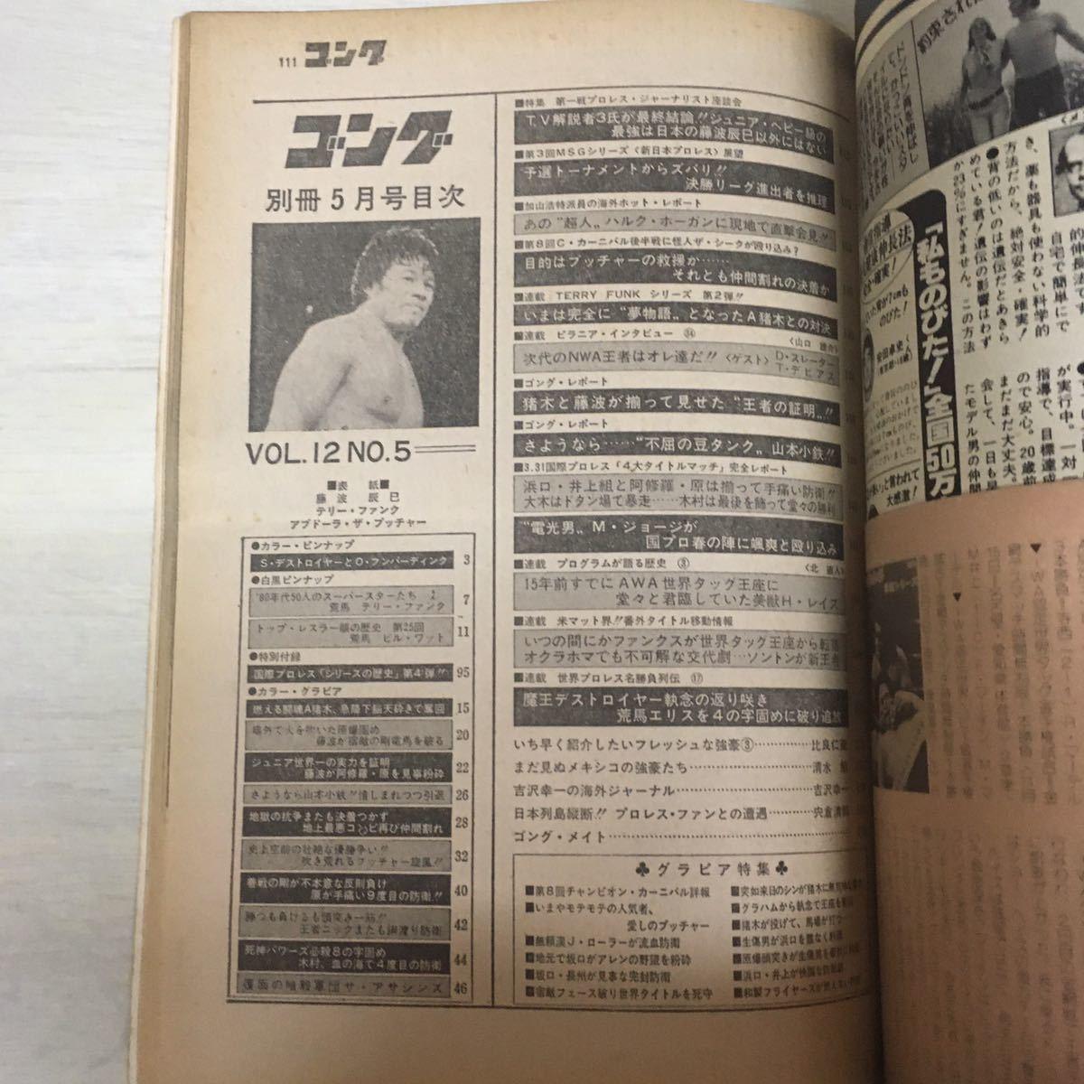 昭和プロレス 別冊ゴング アントニオ猪木 ジャイアント馬場 ブッチャー1980 5月号 1981 6月号セット レジェンドレスラーポスター6枚付_画像5