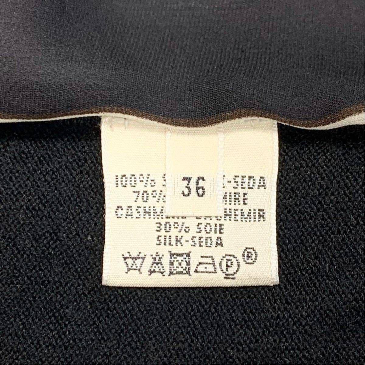【E1669】超人気商品!HERMES エルメス《一番人気のステッキ柄》最高級!カシミヤ シルク カレ ニット セーター 36 黒【世界入手困難品!】_画像7