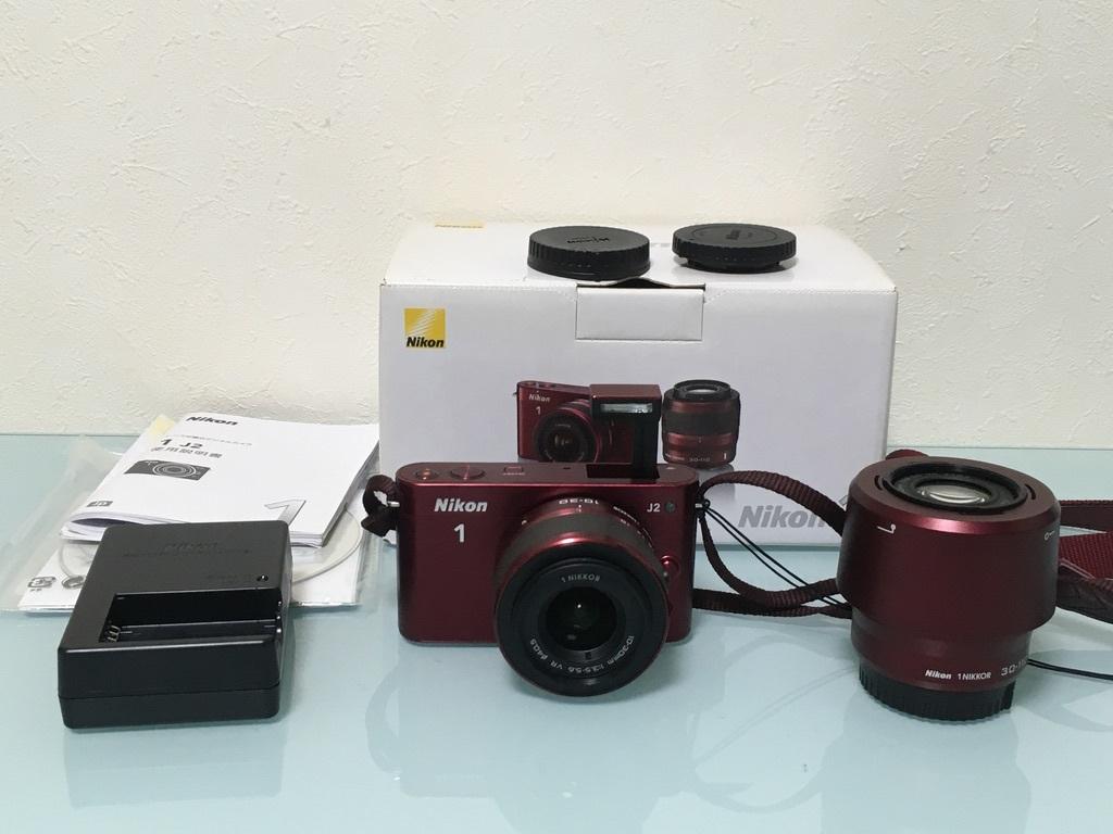 Nikon1 J2 ダブルズームキット(30-110mm F3.8-5.6 VR/10-30mm F3.5-5.6 VR) レッド ミラーレス一眼 SDカード付き 動作良好