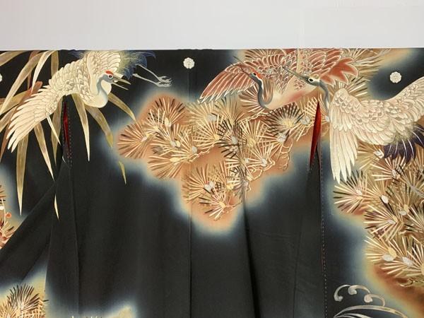 きものさらさ アンティーク着物 黒振袖 鶴 日本刺繍 婚礼 成人式 正絹 花嫁衣裳 大正ロマン ヴィンテージ 古裂_画像6