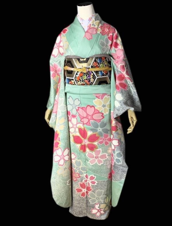きものさらさ 即決! 振袖+帯2点セット 成人式 お正月 パーティー 桜 正絹 現代 華やか! 着丈174㎝ ペパーミントグリーン