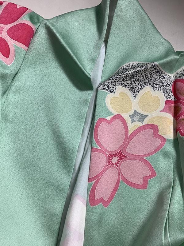きものさらさ 即決! 振袖+帯2点セット 成人式 お正月 パーティー 桜 正絹 現代 華やか! 着丈174㎝ ペパーミントグリーン_画像10