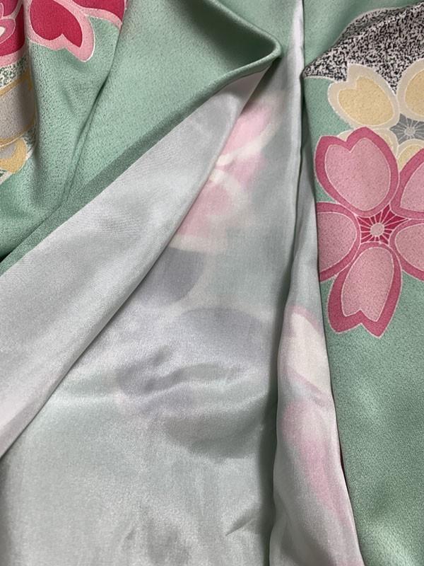 きものさらさ 即決! 振袖+帯2点セット 成人式 お正月 パーティー 桜 正絹 現代 華やか! 着丈174㎝ ペパーミントグリーン_画像4