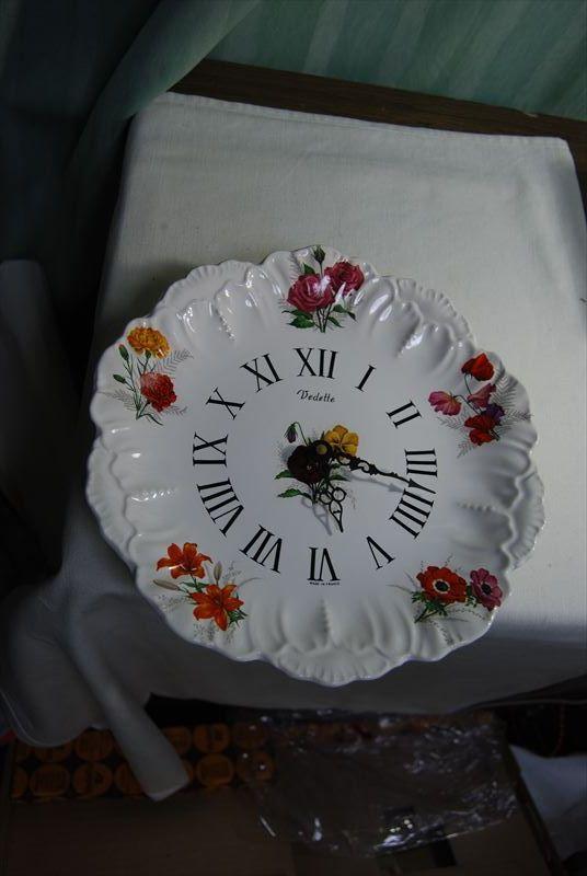 未使用 長期保管品 昭和レトロ フランス製 絵皿の時計 70年代 Vedette ベデット_画像1