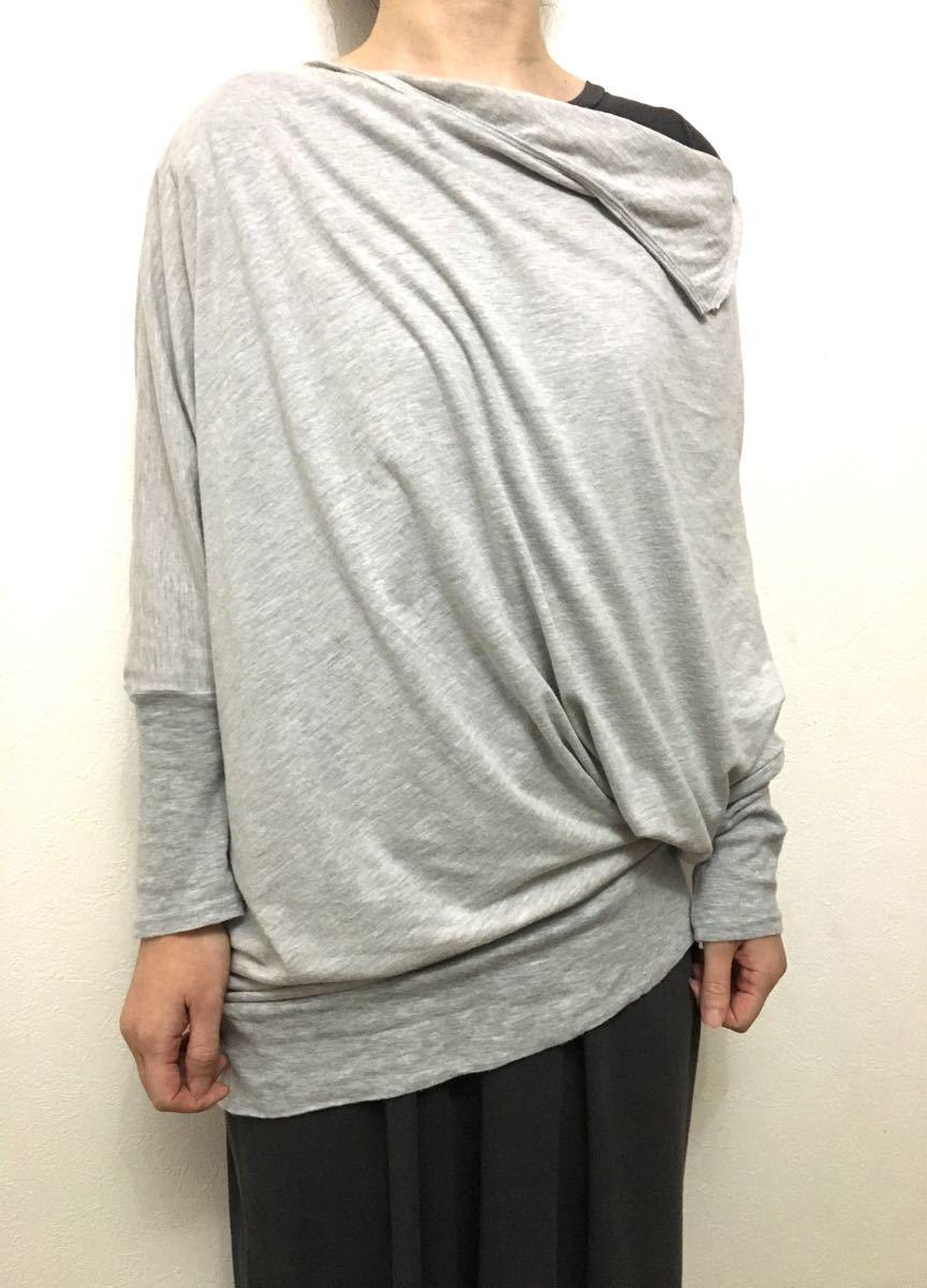 長袖カットソー/サイズM/グレー/アシンメトリー