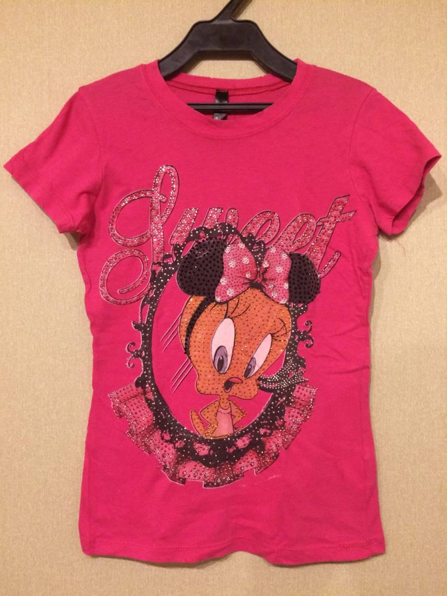 Tweety ラインストーン Tシャツ USED トゥイーティー ダメージ加工 80s Purple VINTAGE_画像1