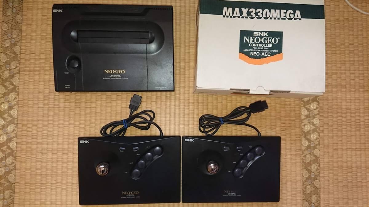 ネオジオ rom版本体+コントローラ2個+ソフト4本セット 中古品