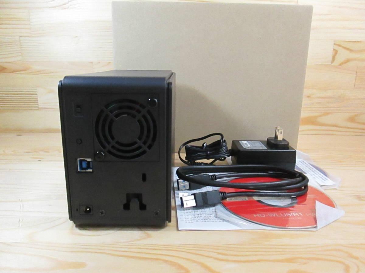 稼働少・送料無料 BUFFALO HD-WL2TU3/R1J RAID1 ミラーリング機能 レグザ USB3.0 外付けHDD ハードディスク 2ドライブ 2TB 385時間_画像2