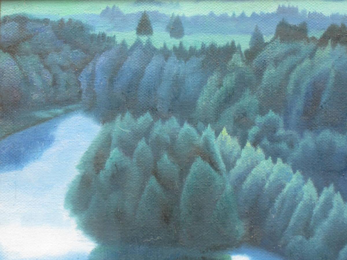 東山魁夷 ☆「湖畔」 肉筆・油彩 湖畔風景 絵面サイン 裏面サイン・落款・画題 額装・収納箱有_画像3