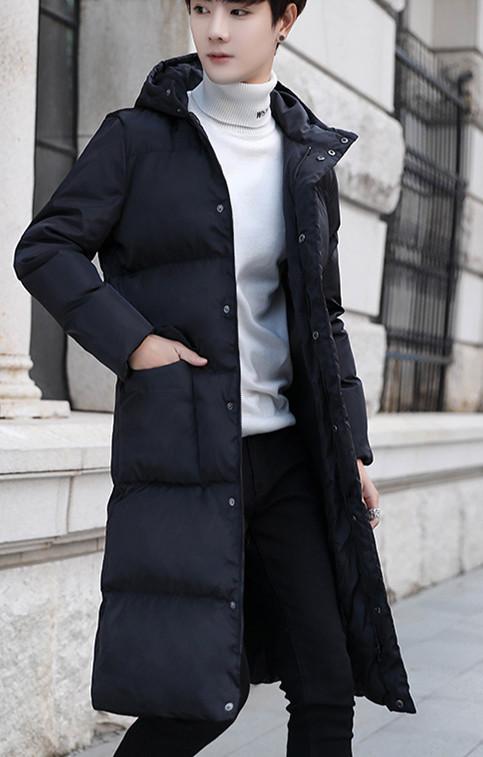 中丈の長い冬の綿の衣服の男韓版のinsのゆったりしてかっこいい過過膝の厚い厚い連帽の羽毛の綿の服の青年の綿の上着 L140_画像2