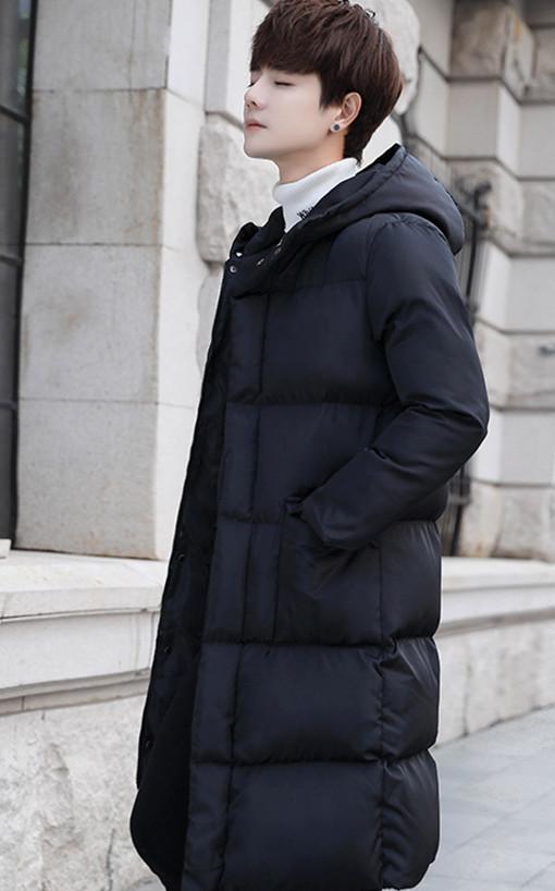 中丈の長い冬の綿の衣服の男韓版のinsのゆったりしてかっこいい過過膝の厚い厚い連帽の羽毛の綿の服の青年の綿の上着 L140_画像3