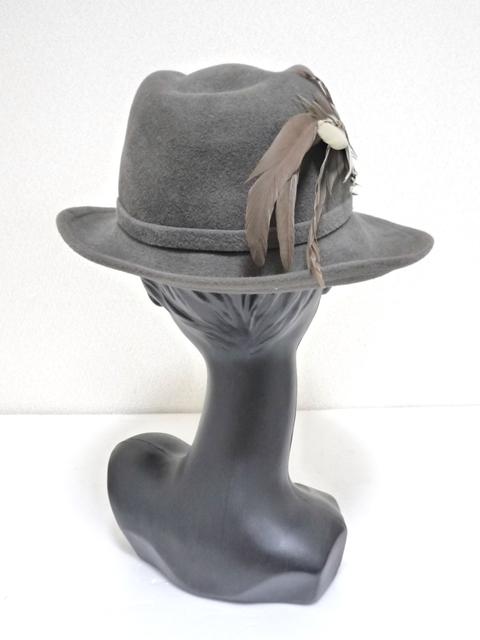 Betmar社 ビンテージ 中折れハット USA製 帽子 グレー 羽根付き ユニオンメイド UNION MADE ソフト帽 レディース_画像4