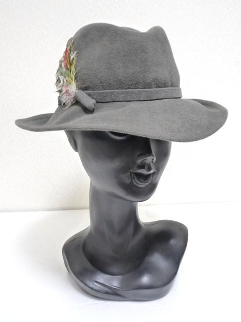 Betmar社 ビンテージ 中折れハット USA製 帽子 グレー 羽根付き ユニオンメイド UNION MADE ソフト帽 レディース