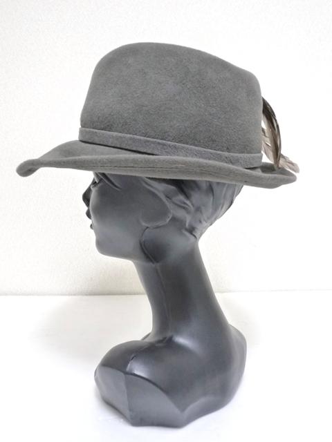 Betmar社 ビンテージ 中折れハット USA製 帽子 グレー 羽根付き ユニオンメイド UNION MADE ソフト帽 レディース_画像3