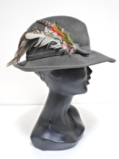 Betmar社 ビンテージ 中折れハット USA製 帽子 グレー 羽根付き ユニオンメイド UNION MADE ソフト帽 レディース_画像2