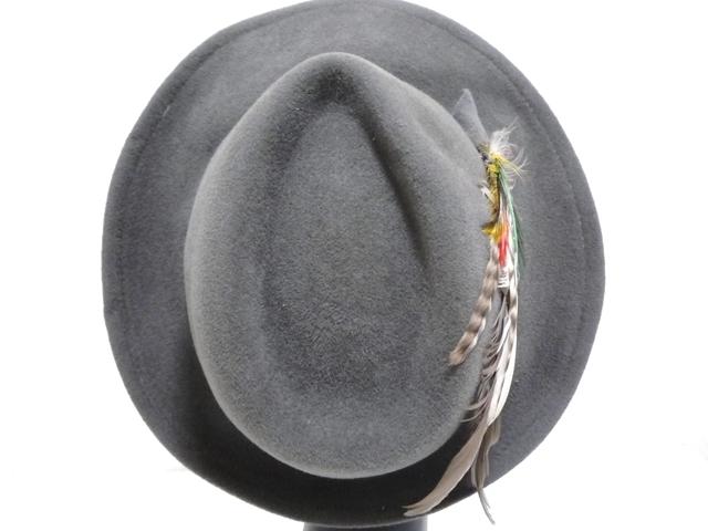 Betmar社 ビンテージ 中折れハット USA製 帽子 グレー 羽根付き ユニオンメイド UNION MADE ソフト帽 レディース_画像6