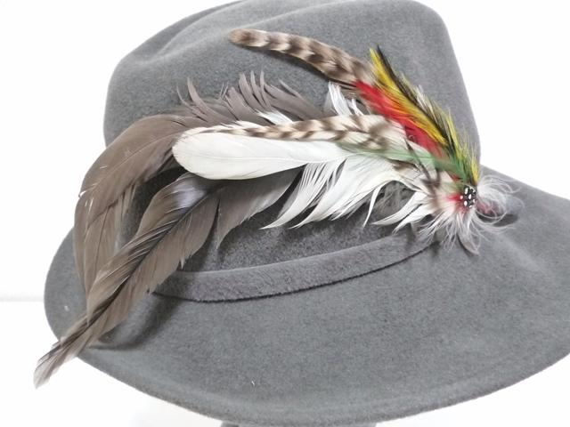 Betmar社 ビンテージ 中折れハット USA製 帽子 グレー 羽根付き ユニオンメイド UNION MADE ソフト帽 レディース_画像5