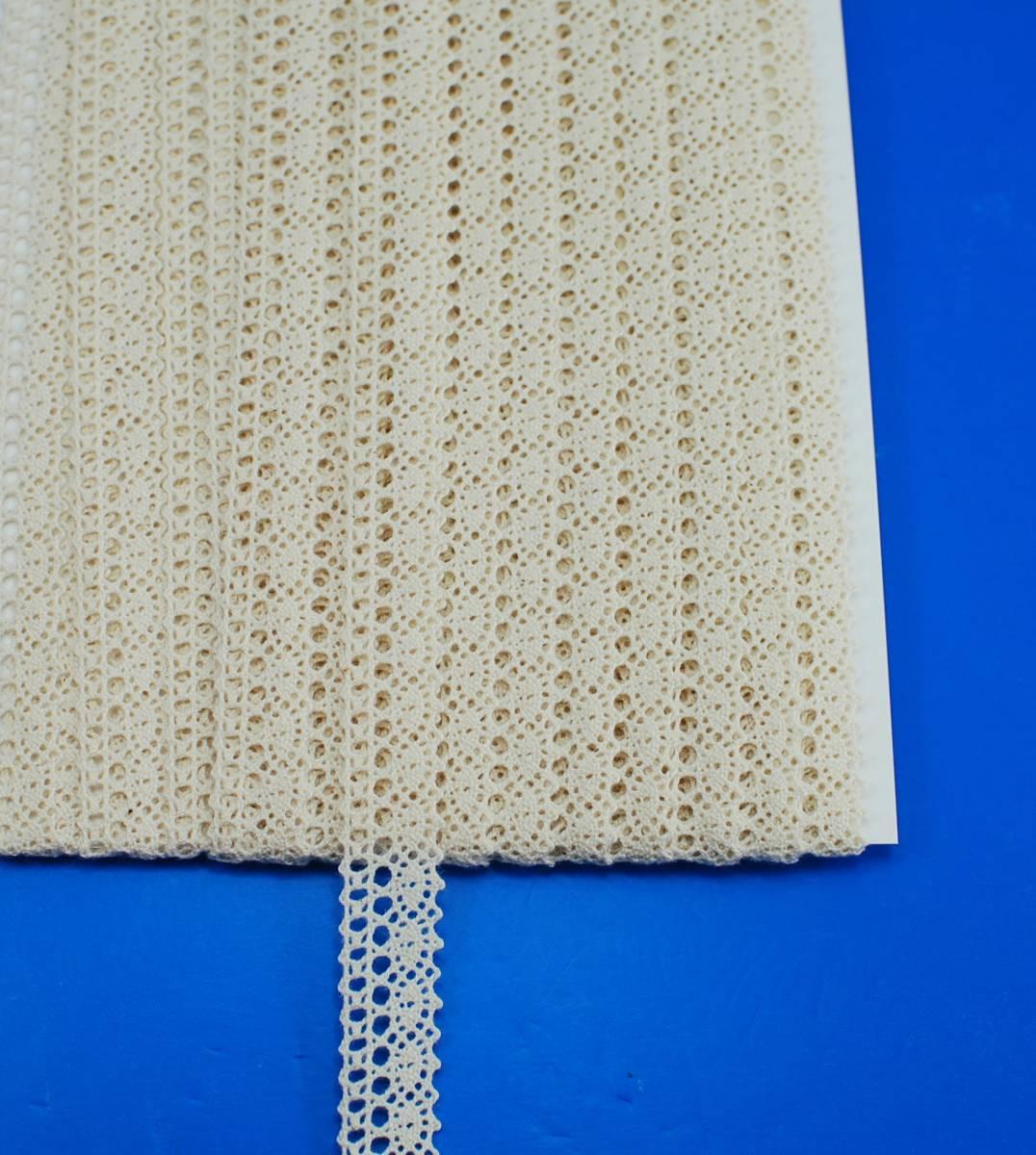 綿レース 15mm巾 生成 15m巻き_1反:15m巻きになります
