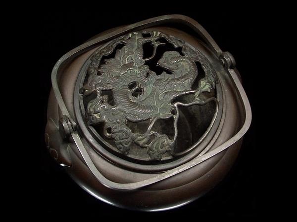 1102【明治期 宣徳銅 龍透彫 手炉 香炉】古銅 銅製 銅器 時代 古玩 香道具 骨董 古美術